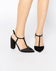 Little Mistress Mollie T Bar Pointed Heeled Shoes Black