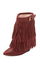 Jerome Dreyfuss Biboots Fringe Wedge Booties Bordeaux