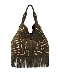 Sam Edelman Emily Studded Suede Bucket Bag Moss Green