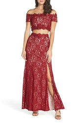 Sequin Hearts Two Piece Off The Shoulder Lace Gown Wine