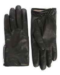 Melindagloss Black Leather Gloves With Side Zips