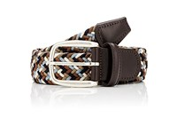 Barneys New York Men's Braided Elastic Belt Blue