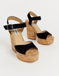 Steve Madden Jess Black Suede Cork Platform Heeled Sandals Black