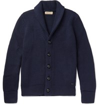 Burberry Shawl Collar Ribbed Wool And Silk Blend Cardigan Navy