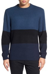 Native Youth Colorblock Crewneck Sweater Blue