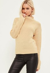 Missguided Nude Cosy High Neck Jumper Camel