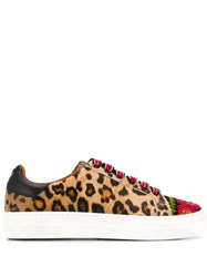 Etro Animal Lace Up Sneakers Brown