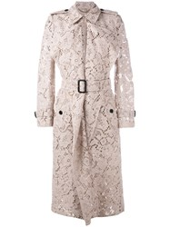 Burberry Lace Trench Coat Pink Purple