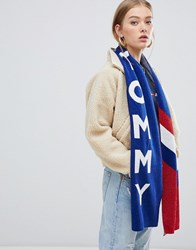 Tommy Jeans Glitter Knit Scarf With Logo And Chevron Navy