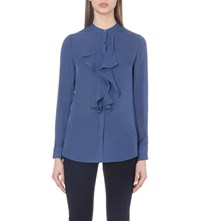 Reiss Pippin Ruffle Detail Silk Top Cornflower Blue
