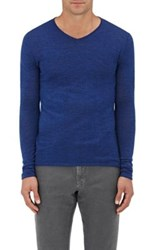 Barneys New York Men's Rolled Edge Wool V Neck Sweater Blue