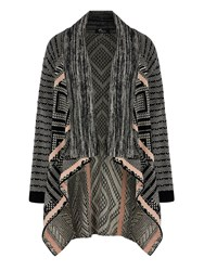 Mela Loves London Mix Print Knitted Long Cardigan Grey