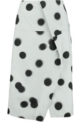 Marc By Marc Jacobs Draped Polka Dot Cotton Blend Midi Skirt Sky Blue