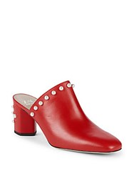 Zac Posen Mello Faux Pearl Leather Mules Chinese Red