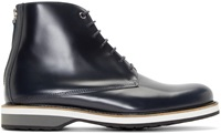 Want Les Essentiels Navy Leather High Top Montoro Derbys