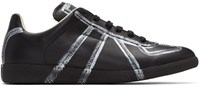 Maison Martin Margiela Black And Silver Painted Lines Replica Sneakers