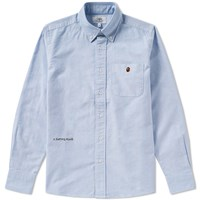 A Bathing Ape Embroidery Oxford Button Down Shirt Blue
