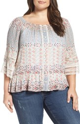 Democracy Plus Size Women's Print Flounce Hem Peasant Blouse