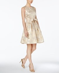 Tommy Hilfiger Metallic Print Fit And Flare Dress Nude Gold