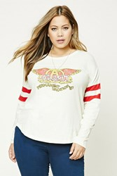 Forever 21 Plus Size Aerosmith Tour Tee Tan Red