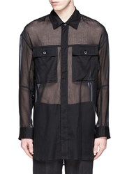 Ann Demeulemeester Sheer Cotton Military Shirt Black
