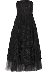 Marchesa Notte Strapless Sequin Embellished Embroidered Tulle Gown Black