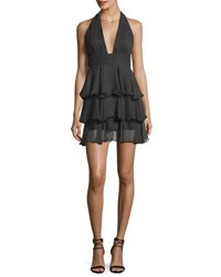 Milly Mia Polka Dot Silk Tiered Mini Cocktail Dress Black Nude