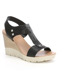 Daniel Peterlee High Wooden Wedge Sandals Black
