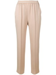 Agnona Elastic Waist Cropped Pants Nude And Neutrals