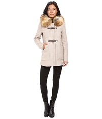 Calvin Klein Fur Trimmed Toggle W Oversized Pockets Oatmeal Women's Coat Brown