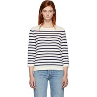 A.P.C. Off White And Navy Stripe Claudine Pullover