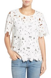 Women's Bobeau Short Sleeve Lace Overlay Top