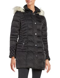 Betsey Johnson Faux Fur Trimmed Puffer Coat Black