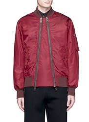 Givenchy Double Zip Front Padded Bomber Jacket Red