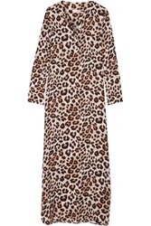 Equipment Niko Leopard Print Washed Silk Maxi Dress Leopard Print