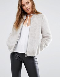New Look Faux Fur Bomber Jacket Mid Grey