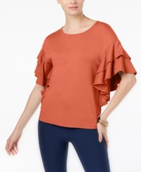 Cable And Gauge Ruffle Sleeve Top Sweet Peach