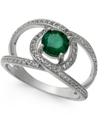 Macy's Emerald 1 Ct. T.W. And White Sapphire 3 4 Ct. T.W. Openwork Ring In Sterling Silver