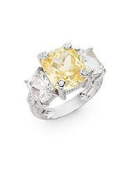 Judith Ripka Classic Crystal Diamond And Sterling Silver Triple Cushion Ring Silver Yellow