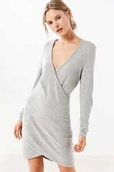 Kimchi And Blue Cozy Surplice Midi Dress Grey
