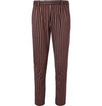Gucci Slim Fit Striped Wool And Cotton Blend Suit Trousers Red