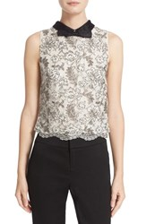 Alice Olivia Women's 'Manie' Contrast Bow Collar Embellished Crop Top
