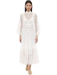 Zimmermann Embroidered Cotton Midi Dress Ivory