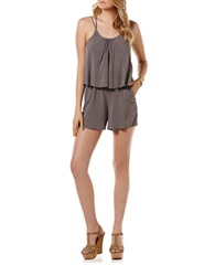 Candc California Flutter Overlay Romper Faded Grey