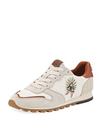 Coach Pyramid Runner Sneakers With Eye Of Providence Chalk Saddle