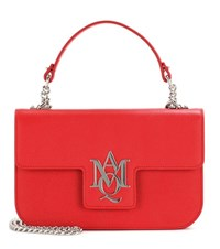 Alexander Mcqueen Insignia Chain Leather Satchel Red