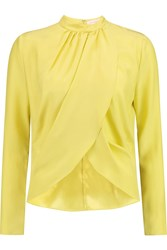 Matthew Williamson Wrap Effect Silk Blouse Yellow