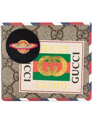 Gucci Gg Supreme Space Patch Wallet Men Leather Canvas One Size Nude Neutrals