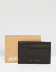 Asos Design Leather Card Holder In Brown With Foil Emboss