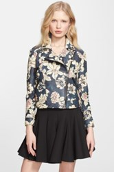 Elizabeth And James 'Lily Erwan' Print Leather Jacket Black